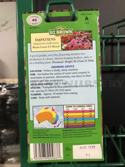 Seeds - impatiens bizzie lizzie F2 mixed